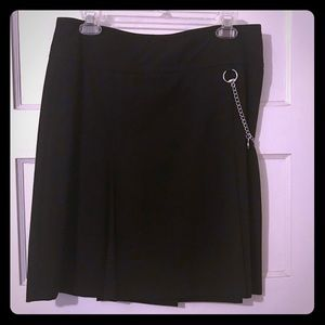 Black Kick Pleat Skirt with Hidden Front Pockets